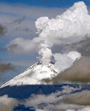 Popocatépetl volcano in Mexico