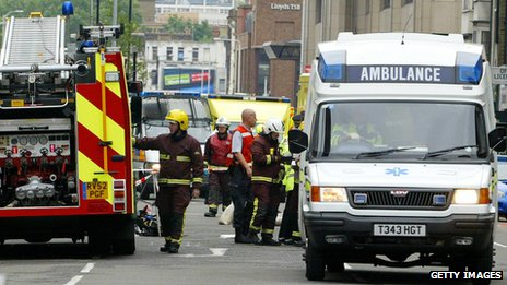 Scene in London on 7 July 2005, the day of the London bombings