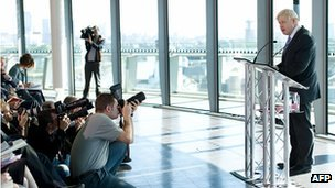 Boris Johnson speaking at City Hall