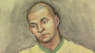 Court sketch of Carl Powell