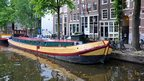 Houseboat for sale on an Amsterdam canal