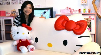 Japanese woman with Hello Kitty things