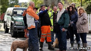 Volunteers gather to search in the village of Corris, near Machynlleth