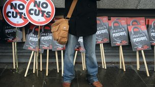 Anti-cuts protestor in Glasgow