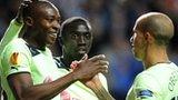 Newcastle striker Shola Ameobi (left) put his side ahead against Bordeaux