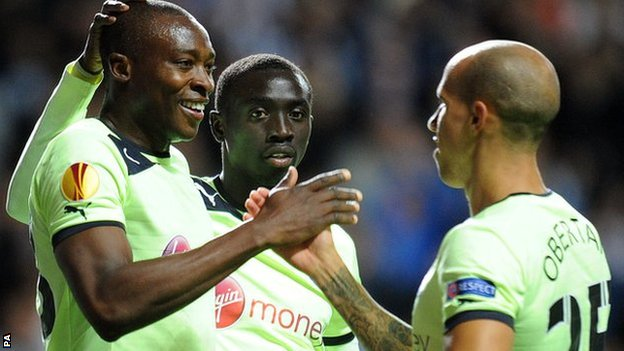 Newcastle striker Shola Ameobi (left) put his side ahead against Bordeaux