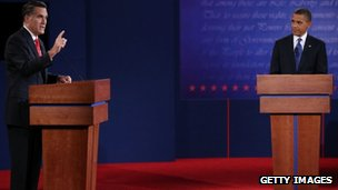 Mitt Romney and US President Barack Obama  participate in their first debate at the University of Denver in Denver, Colorado, 3 October 2012