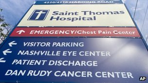 A sign marks an entrance to Saint Thomas Hospital medical campus in Nashville, Tennessee, on 3 October 2012