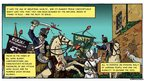 Graphic novel page showing the Peterloo Massacre