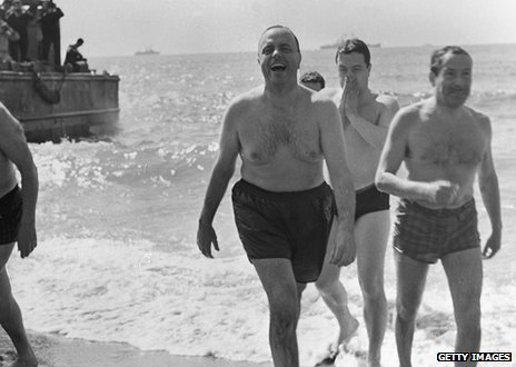 Senator Biddle after a swim on Palomares beach