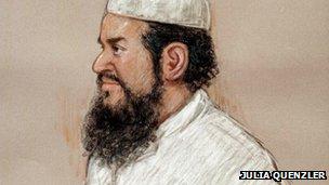 Artist's impression of Khaled al-Fawwaz from 2001 court appearance