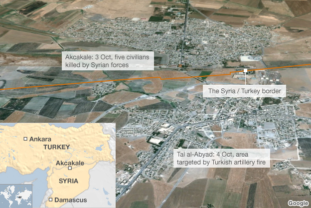 Map showing Turkey-Syria border