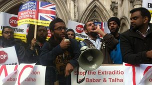 Anti-extradition protesters outside the court