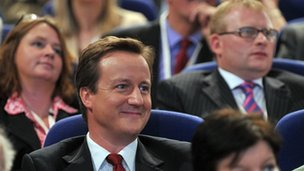 David Cameron and Conservative conference delegates