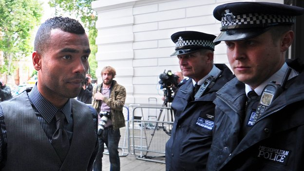 Ashley Cole arrives to attend the trial of his team-mate John Terry