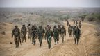 African Union troops and members of a Somali militia near Kismayo - Tuesday 2 October 2012