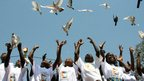 Children releasing pigeons in Mozambique - Thursday 4 October 2012