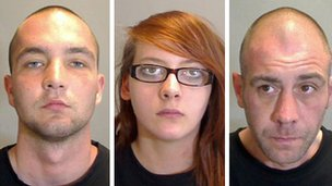 Ricky Roys, 20, Helen Cooke, 19 and Andrew Brown, 42
