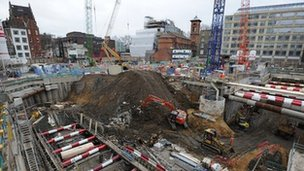 Crossrail construction site, January 2012