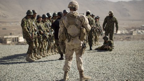 A Canadian Army soldier, mentoring the Afghan National Army