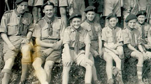 Gilbert Powell (third from left) with fellow scouts