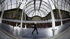 German fashion designer Karl Lagerfeld acknowledges the public