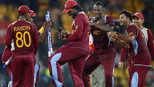 Chris Gayle dances to K-pop hit Gangnam Style as the Windies celebrate reaching the World Twenty20 final