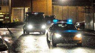 Convoy leaves Long Lartin prison