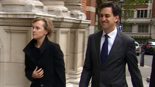 Justine Thornton and Ed Miliband arriving at Nigel Doughty's memorial
