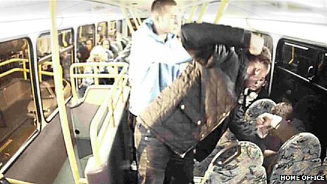 Yob punches man on a bus
