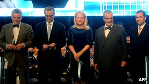 From left, Prague Mayor Bohuslav Svoboda, Czech Finance Minister Miroslav Kalousek, Dagmar Havlova, Czech Foreign Minister Karel Schwarzenberg and Czech Aeroholding general manager Miroslav Dvorak
