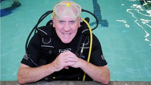 Brian Wall, 74, in the pool