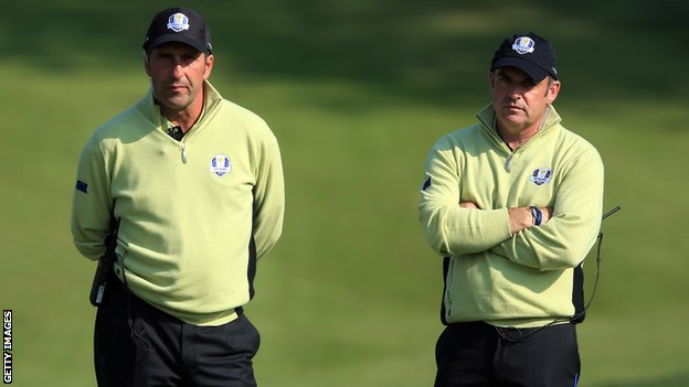 Paul McGinley (right) with this year's captain Jose Maria Olazabal