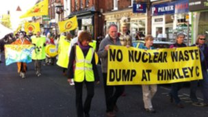 Protesters against nuclear power marching through Bridgwater