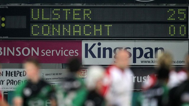 Scoreboard at Ravenhill