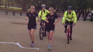 Sgt Sonia Clamp and Captain Nicky Jefferson running on Horse Guards Parade