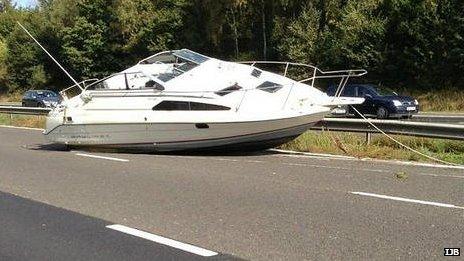 Boat on motorway