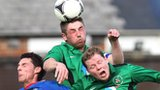 Ballinamallard's Mark Stafford and Mark McConkey battle with Linfield's Daryl Fordyce