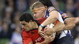 Jamie Heaslip tackles Doug Howlett at the Aviva Stadium