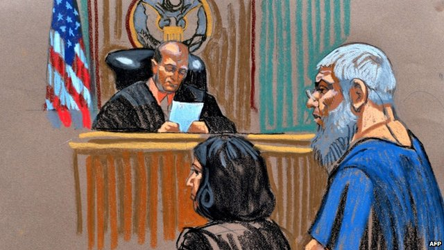 Courtroom sketch of Abu Hamza al-Masri before US Magistrate Judge Frank Maas