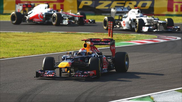 Sebastian Vettel leads at Suzuka