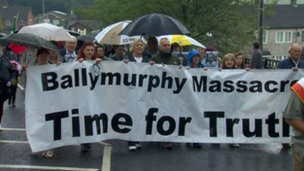 In August, hundreds took part in a protest calling for an inquiry into the Ballymurhphy killings.