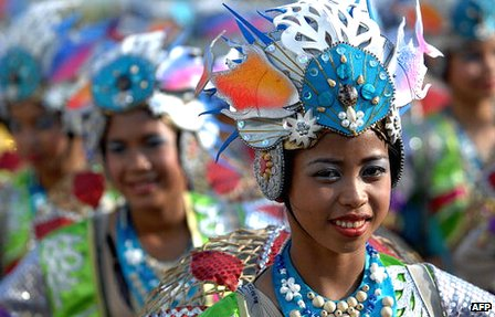 Performers appear at the Aliwan Fiesta in Pasay City, near Manila, on