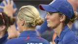 Charlotte Edwards looks on as beaten England wait for the trophy presentation