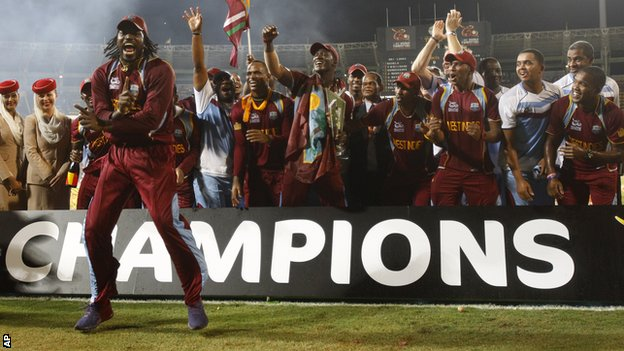 West Indies celebrate with the ICC World Twenty20 trophy