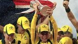 Australia celebrate with the World Twenty20 trophy