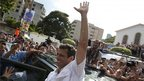 Opposition candidate Henrique Capriles after voting in Caracas (7 Oct)