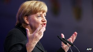 German Chancellor Angela Merkel speaks at a youth union convention in Rostock, 5 October