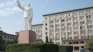 Statue of Mao outside university in Wuhan