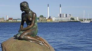The Little Mermaid statue in Denmark